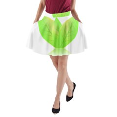 Leaves Green Nature Reflection A Line Pocket Skirt by Nexatart