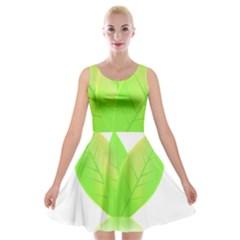 Leaves Green Nature Reflection Velvet Skater Dress