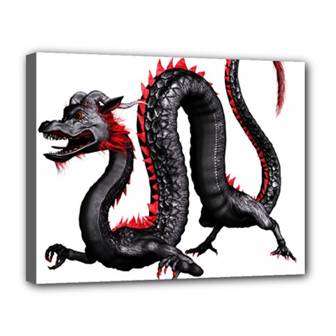 Dragon Black Red China Asian 3d Canvas 14  X 11  by Nexatart