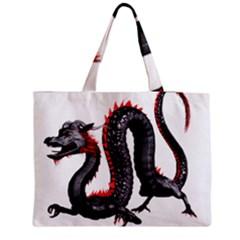 Dragon Black Red China Asian 3d Medium Zipper Tote Bag by Nexatart