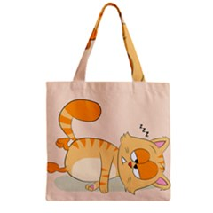 Even Cat Hates Monday Zipper Grocery Tote Bag by Catifornia