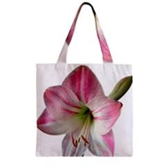 Flower Blossom Bloom Amaryllis Zipper Grocery Tote Bag by Nexatart