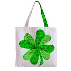 St Patricks Day Shamrock Green Zipper Grocery Tote Bag by Nexatart
