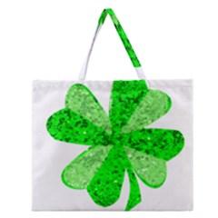 St Patricks Day Shamrock Green Zipper Large Tote Bag by Nexatart