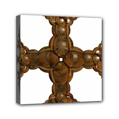Cross Golden Cross Design 3d Mini Canvas 6  X 6  by Nexatart
