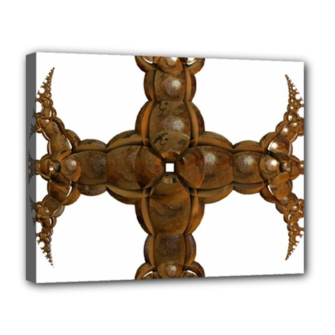 Cross Golden Cross Design 3d Canvas 14  X 11  by Nexatart