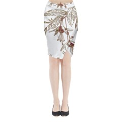 Floral Spray Gold And Red Pretty Midi Wrap Pencil Skirt