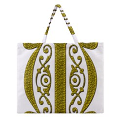 Gold Scroll Design Ornate Ornament Zipper Large Tote Bag by Nexatart