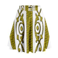 Gold Scroll Design Ornate Ornament High Waist Skirt by Nexatart