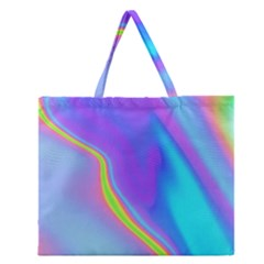 Aurora Color Rainbow Space Blue Sky Purple Yellow Zipper Large Tote Bag by Mariart