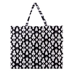 Dark Horse Playing Card Black White Zipper Large Tote Bag by Mariart