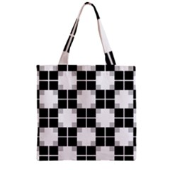 Plaid Black White Zipper Grocery Tote Bag by Mariart