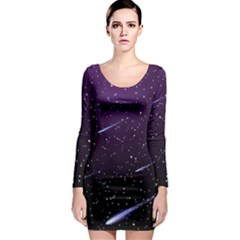 Starry Night Sky Meteor Stock Vectors Clipart Illustrations Long Sleeve Bodycon Dress by Mariart