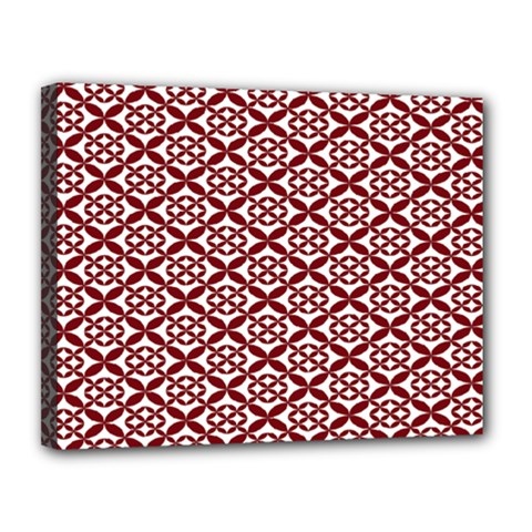 Pattern Kawung Star Line Plaid Flower Floral Red Canvas 14  X 11  by Mariart