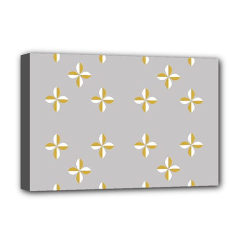 Syrface Flower Floral Gold White Space Star Deluxe Canvas 18  X 12   by Mariart