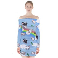 Sweet Dreams  Long Sleeve Off Shoulder Dress by Valentinaart