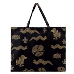 Aztecs Pattern Zipper Large Tote Bag by Valentinaart