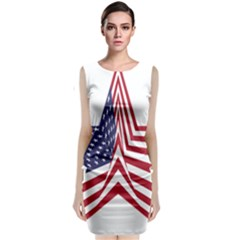 A Star With An American Flag Pattern Classic Sleeveless Midi Dress by Nexatart