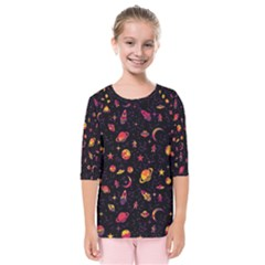 Space Pattern Kids  Quarter Sleeve Raglan Tee by ValentinaDesign