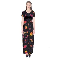 Space Pattern Short Sleeve Maxi Dress by ValentinaDesign