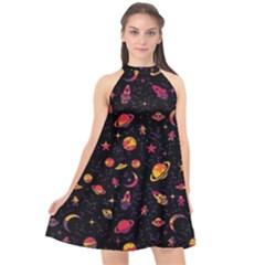 Space Pattern Halter Neckline Chiffon Dress  by ValentinaDesign