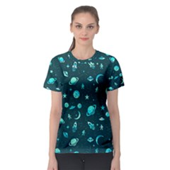 Space Pattern Women s Sport Mesh Tee by ValentinaDesign