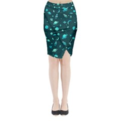 Space Pattern Midi Wrap Pencil Skirt by ValentinaDesign