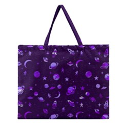 Space Pattern Zipper Large Tote Bag by ValentinaDesign