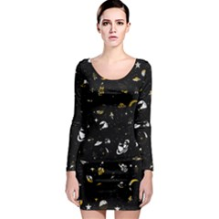 Space Pattern Long Sleeve Bodycon Dress by ValentinaDesign
