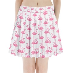 Pink Flamingos Pattern Pleated Mini Skirt by Nexatart