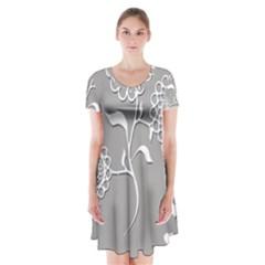Flower Heart Plant Symbol Love Short Sleeve V Neck Flare Dress by Nexatart