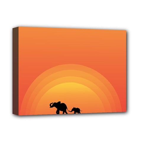 Elephant Baby Elephant Wildlife Deluxe Canvas 16  X 12   by Nexatart