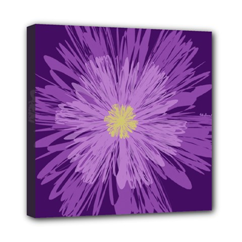 Purple Flower Floral Purple Flowers Mini Canvas 8  X 8  by Nexatart