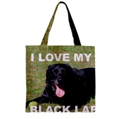 Black Lab Love W Pic Zipper Grocery Tote Bag by TailWags