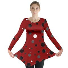 Decorative Dots Pattern Long Sleeve Tunic  by ValentinaDesign