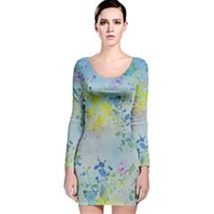 Watercolors splashes              Long Sleeve Velvet Bodycon Dress by LalyLauraFLM