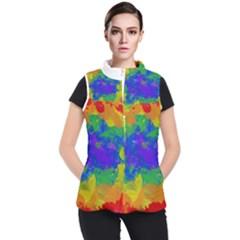 Colorful Paint Texture     Women s Puffer Vest