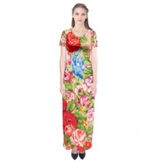 Beautiful Roses Collage Short Sleeve Maxi Dress by LovelyDesigns4U