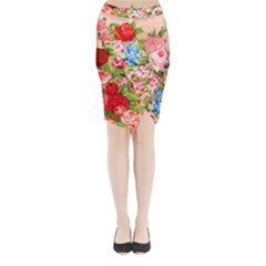 Beautiful Roses Collage Midi Wrap Pencil Skirt by LovelyDesigns4U