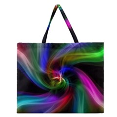 Abstract Art Color Design Lines Zipper Large Tote Bag by Nexatart