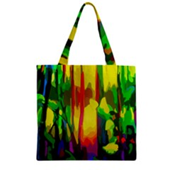 Abstract Vibrant Colour Botany Zipper Grocery Tote Bag by Nexatart