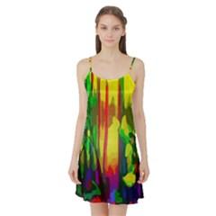 Abstract Vibrant Colour Botany Satin Night Slip