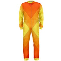 Pattern Retired Background Orange OnePiece Jumpsuit (Men)  by Nexatart