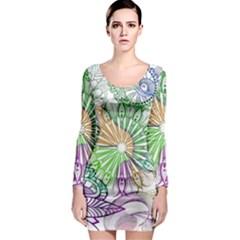 Zentangle Mix 1116c Long Sleeve Bodycon Dress by MoreColorsinLife