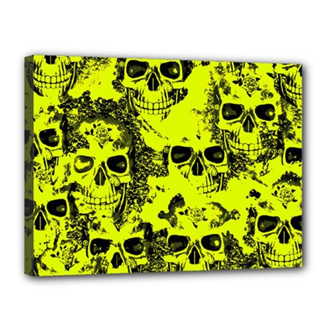 Cloudy Skulls Black Yellow Canvas 16  X 12  by MoreColorsinLife