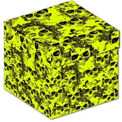 Cloudy Skulls Black Yellow Storage Stool 12   by MoreColorsinLife