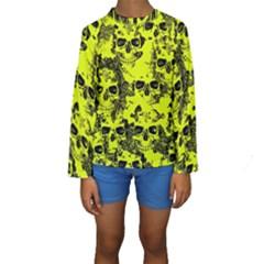 Cloudy Skulls Black Yellow Kids  Long Sleeve Swimwear by MoreColorsinLife