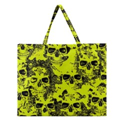 Cloudy Skulls Black Yellow Zipper Large Tote Bag by MoreColorsinLife