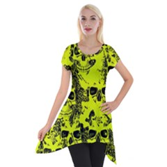 Cloudy Skulls Black Yellow Short Sleeve Side Drop Tunic by MoreColorsinLife