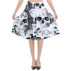 Cloudy Skulls B&w Flared Midi Skirt by MoreColorsinLife